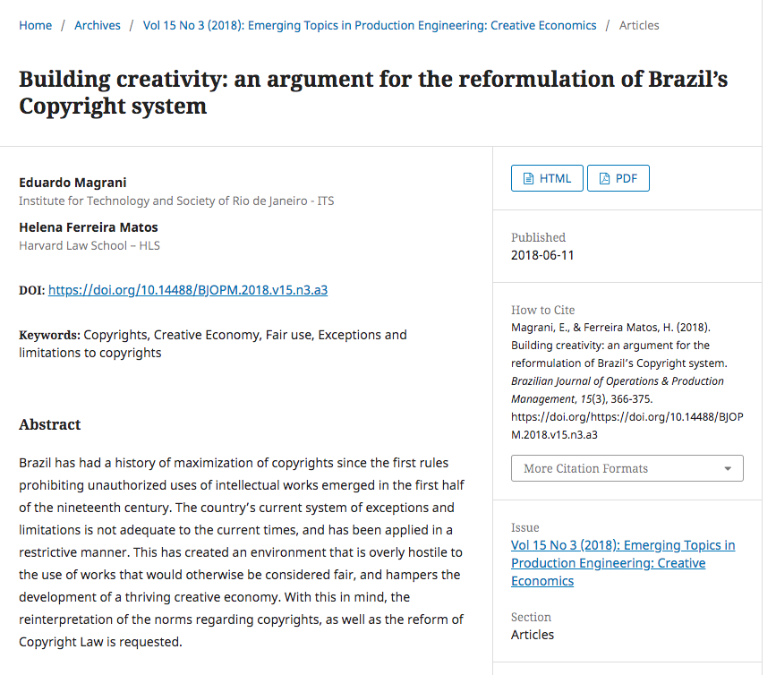 [Article] Building creativity: an argument for the reformulation of Brazil's Copyright system