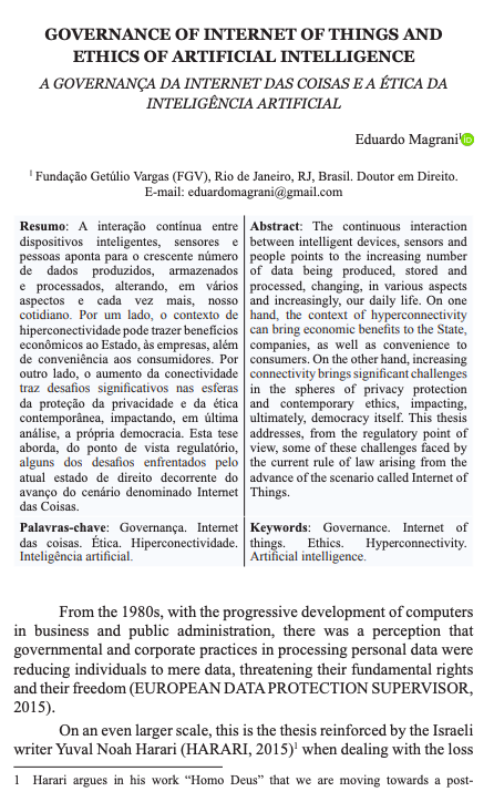[Article] GOVERNANCE OF INTERNET OF THINGS AND ETHICS OF ARTIFICIAL INTELLIGENCE
