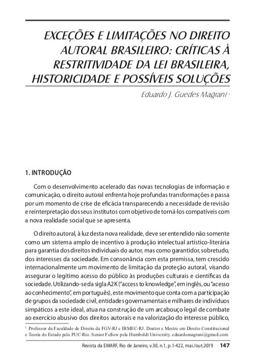 [Artigo] Exceções e limitações ao direito autoral: historicidade, críticas à restritividade da lei brasileira e possíveis soluções