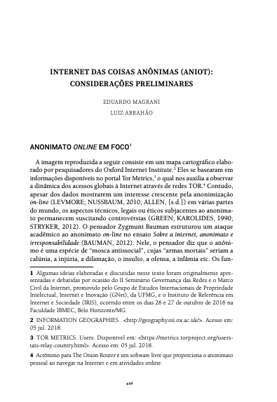 [Artigo] INTERNET DAS COISAS ANÔNIMAS (ANIOT)